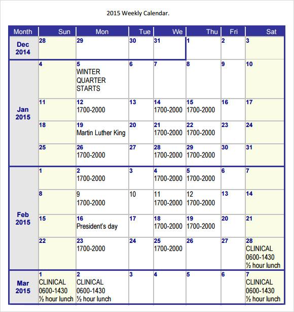 free weekly calendar templates 2015 - Roho4senses - Free Weekly Calendar