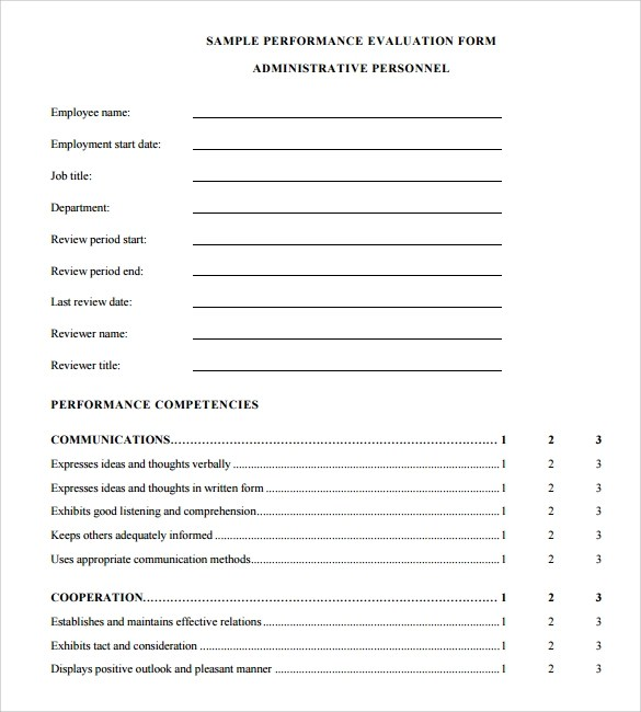 employee performance appraisal form - Boatjeremyeaton - free appraisal forms
