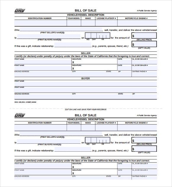 Sample Car Bill of Sale Form - 5+ Free Documents in PDF, Word