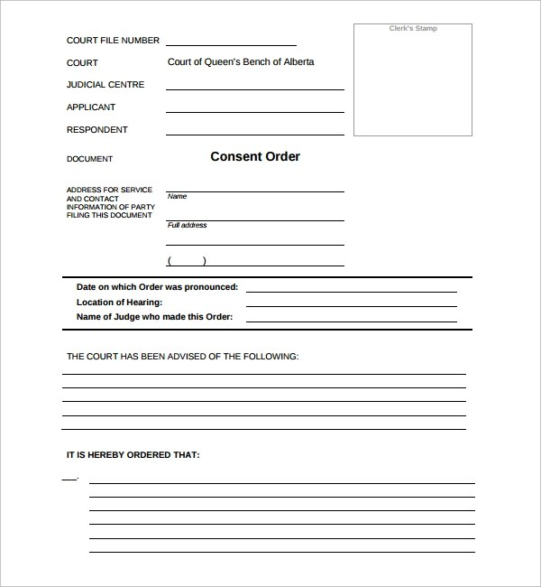 Consent Order Form Best Consent Order Templates Images On Pinterest - blank divorce papers