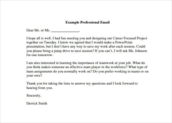 8+ Sample Professional Email Templates - PDF