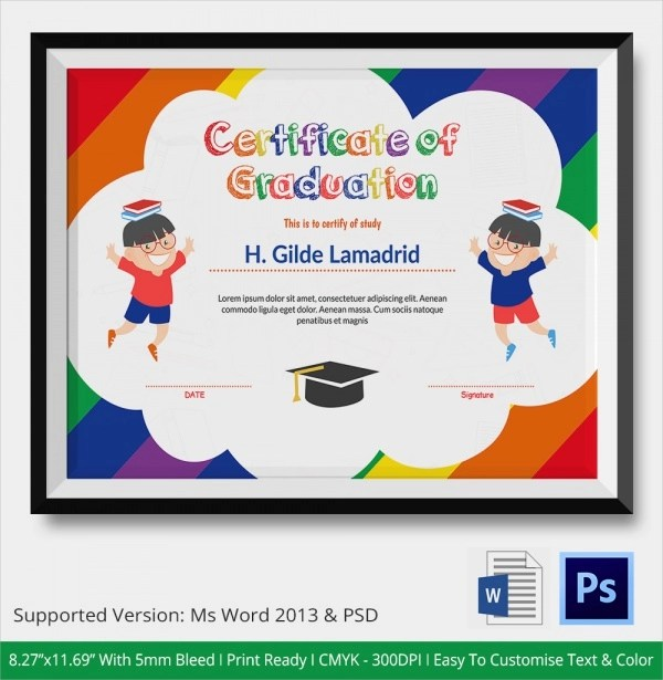 20+ Graduation Certificates - PSD, Word - certificate template for kids