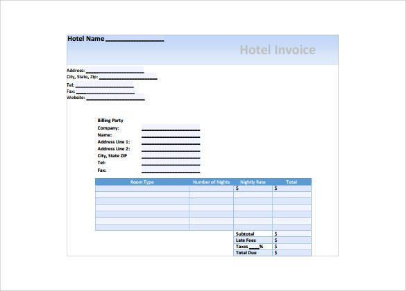 hotels invoice - Yenimescale - Hotel Invoice