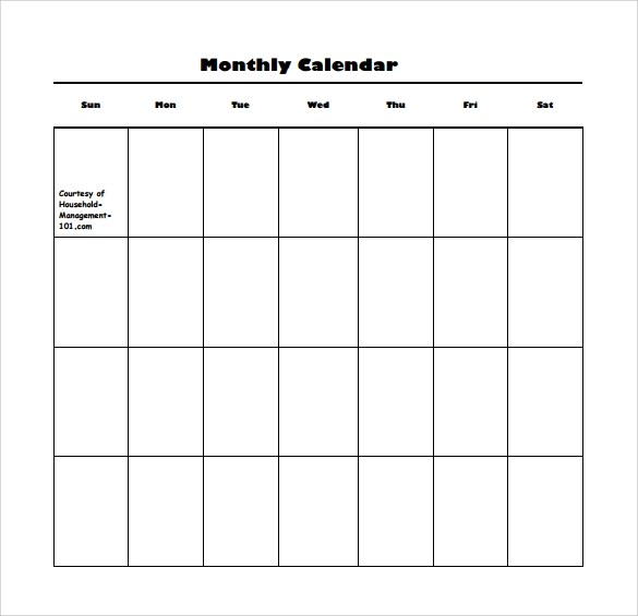16 Sample Blank Calendar Templates to Download Sample Templates