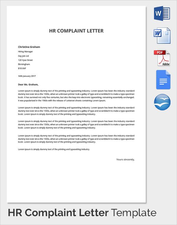 10+ HR Complaint Forms Sample Templates - complaint letters template