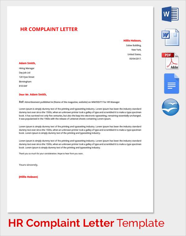 complaint letter to hr department