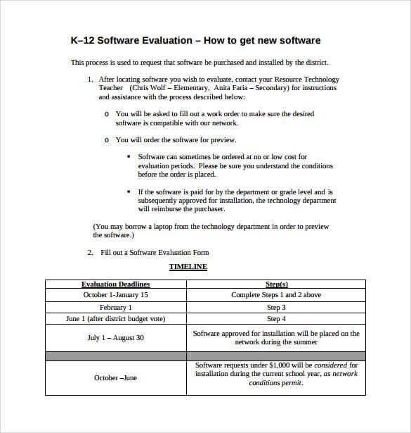 9+ Software Evaluation Samples Sample Templates