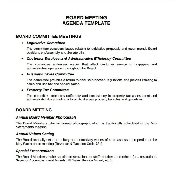 12+ Sample Board Meeting Agenda Templates Sample Templates - board meeting agenda