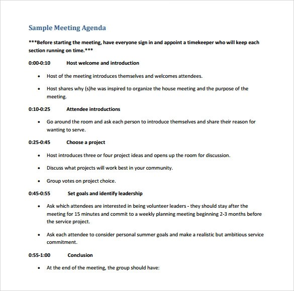 Sample Board Meeting Agenda Template - 11+ Free Documents in PDF, Word - make an agenda