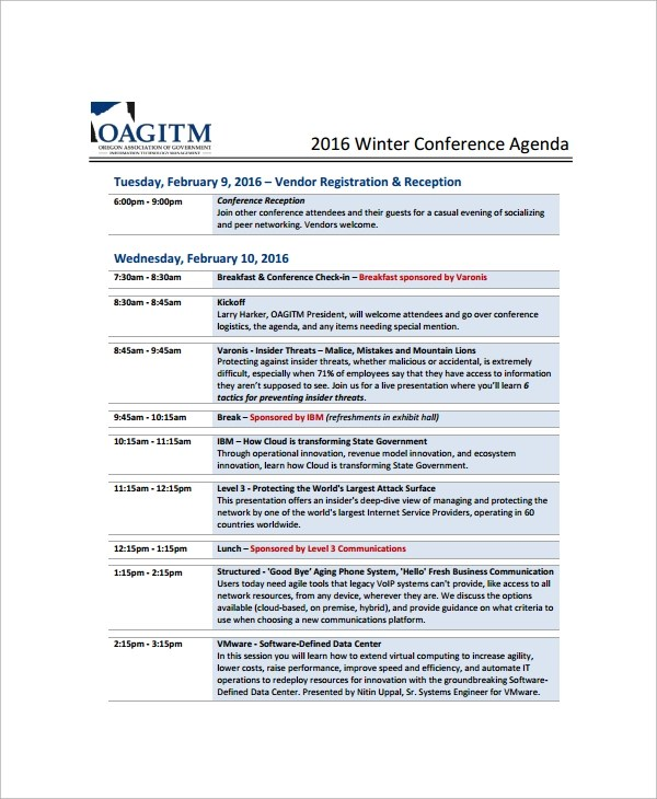 Agenda Template Free simpletext - sample conference agenda