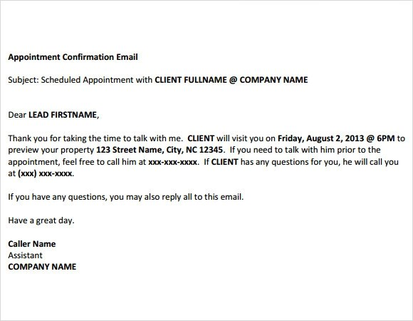 confirmation email samples