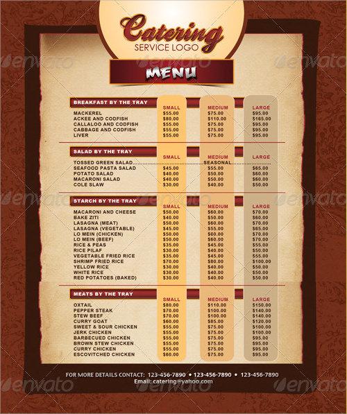 sample menu templates for catering