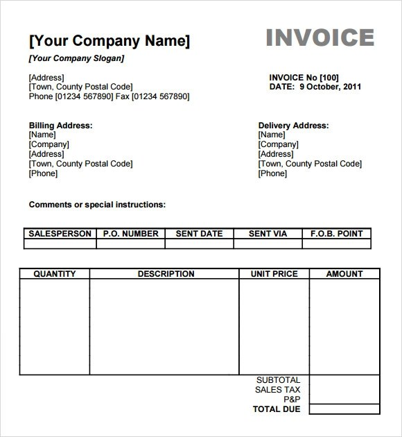 sample of billing invoice - zrom