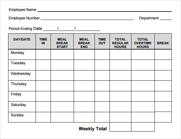 Holiday Timesheet Template – Sample Blank Timesheet