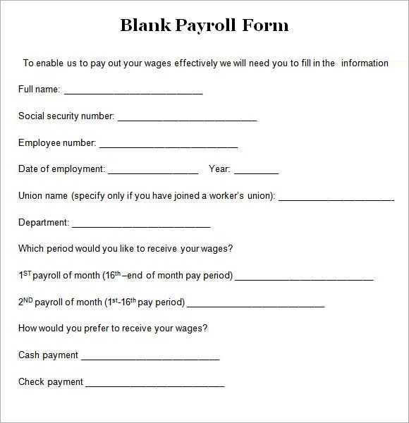 8+ Blank Payroll Form Templates Sample Templates - Blank Forms Templates