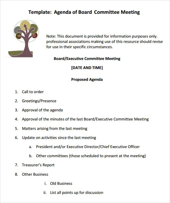 12+ Sample Board Meeting Agenda Templates Sample Templates
