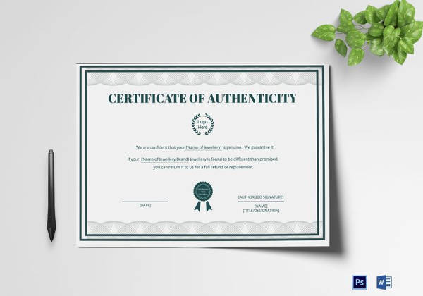 blank certificate of authenticity