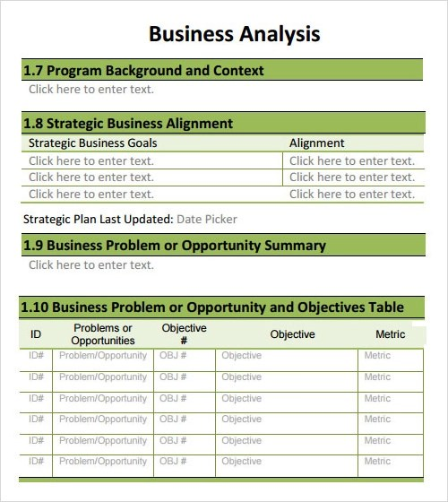 business analysis template - 28 images - free business analysis work