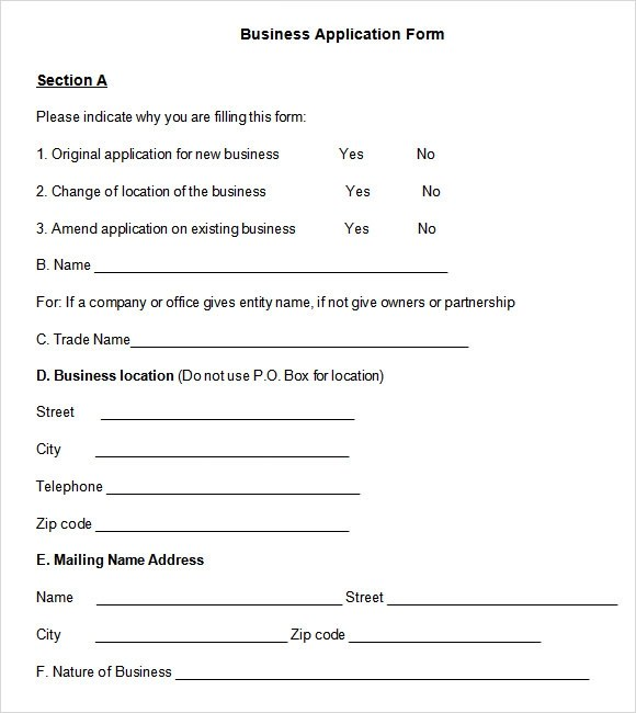 Sample Business Application Form - 7+ Free Dcouments Download in PDF