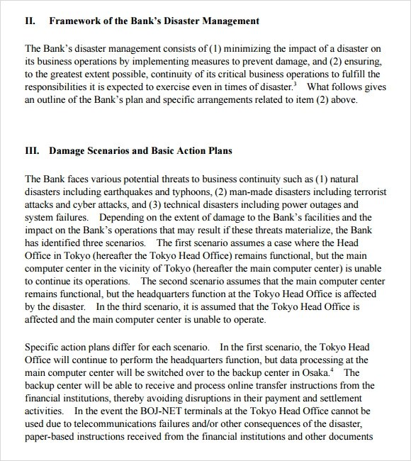 12+ Sample Business Continuity Plan Templates Sample Templates