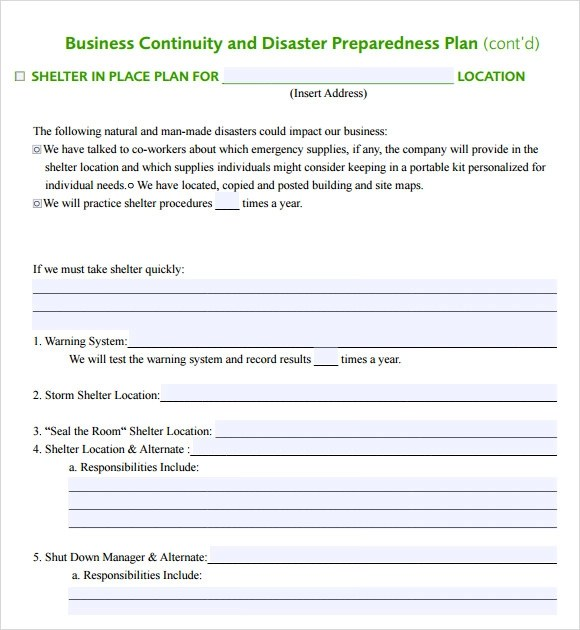 Sample Business Continuity Plan Template - 12+ Free Documents in PDF - disaster recovery plan template