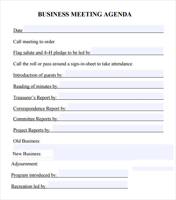 Business Meeting Agenda Template - 5+ Download Free Documents in - meetings template