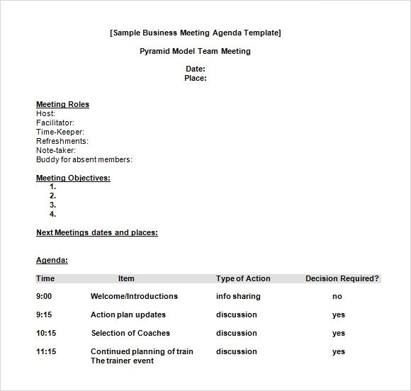 6 Business Meeting Agenda Templates \u2013 Free Samples , Examples - agenda word template