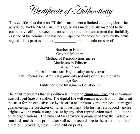 36+ Sample Certificate of Authenticity Templates Sample Templates - certificate of authenticity template