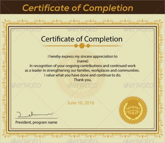 Certificate Of Completion Template For Construction – Certificate of Completion Construction