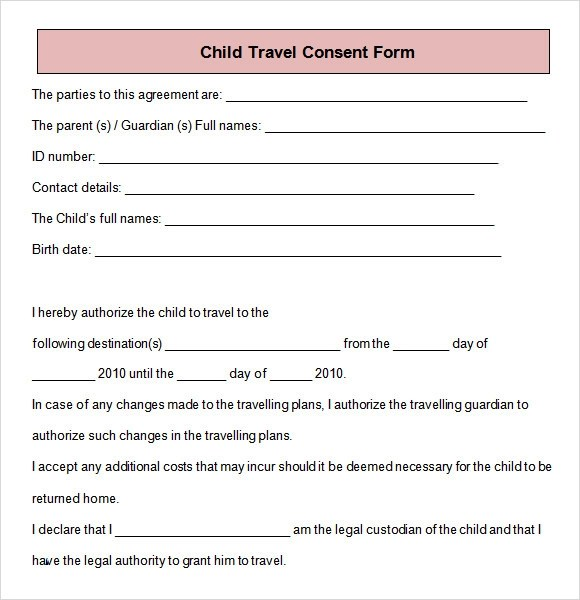 Child Travel Consent Form With One Parent  Sample Of Resume With