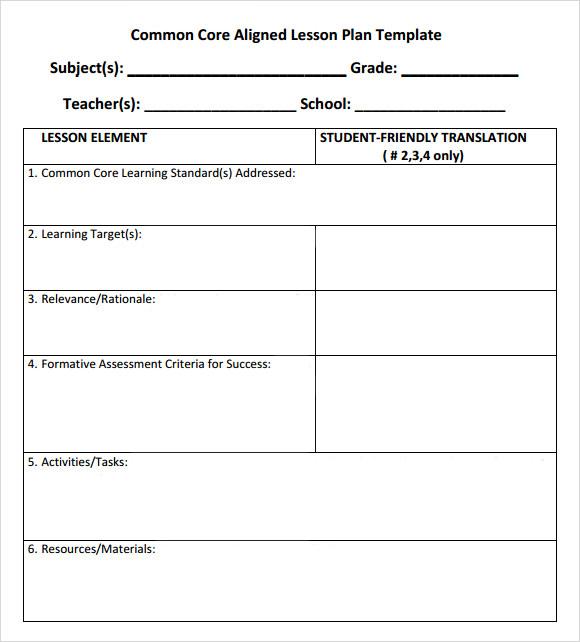 common core lesson plan template - Onwebioinnovate - sample common core lesson plan
