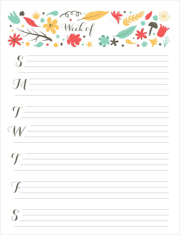 Sample Weekly Calendar - 16+ Documents in Word, Excel, PDF - weekly calendar template