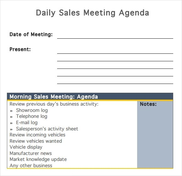 8 Sales Meeting Agenda Templates to Free Download Sample Templates