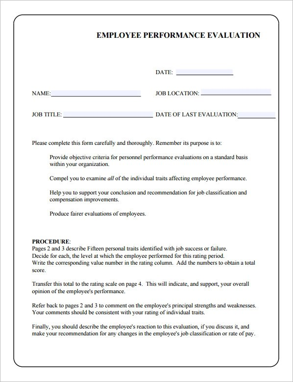 Performance Evaluation Template For Employees – Job Evaluation Template