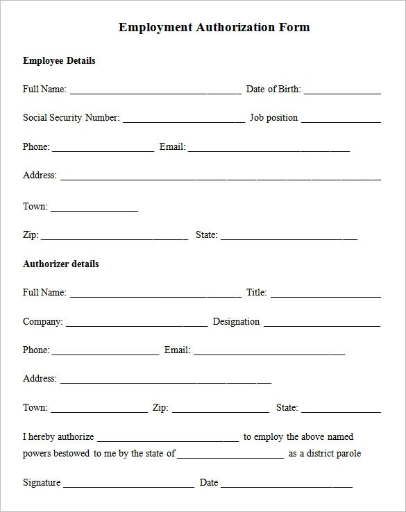 5+ Employment Authorization Forms Sample Templates - sample employment authorization form