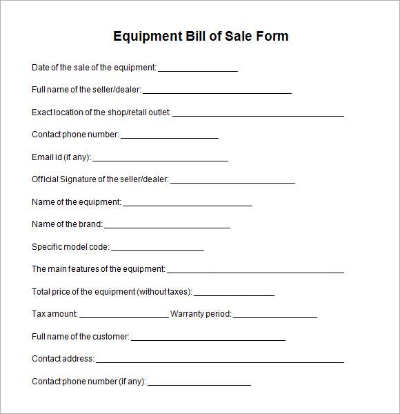 equipment bill of sale template - bill of sale form
