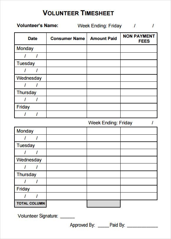 Delightful Timesheet Template With Description Timesheet Template Free Excel Timesheet  Free Download Sample Volunteer Timesheet U2013 9