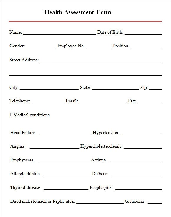 Health Assessment Form Template  Free Health Assessment Form