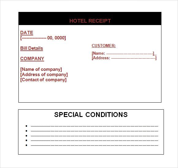 free hotel receipt template word