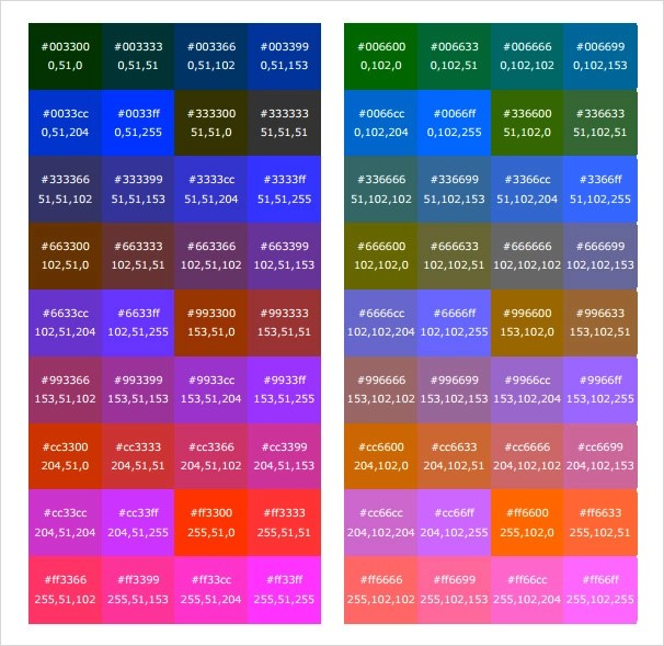 6+ Sample HTML Color Code Charts Sample Templates