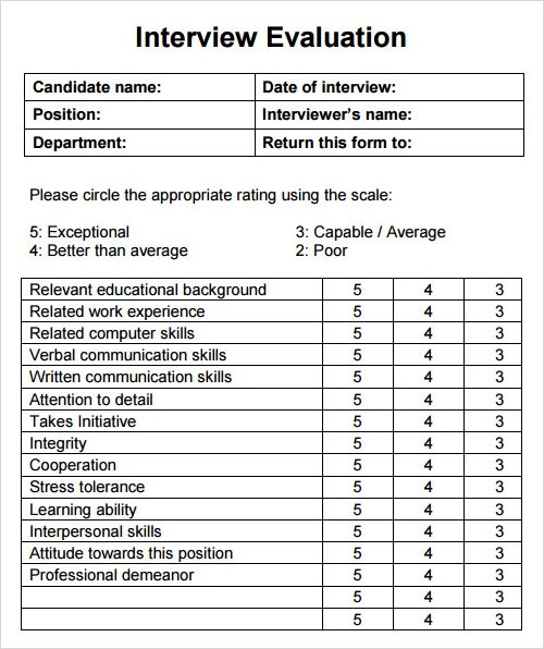 13+ Evaluation Templates Sample Templates - Sample Interview Evaluation