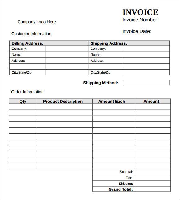 samples invoice