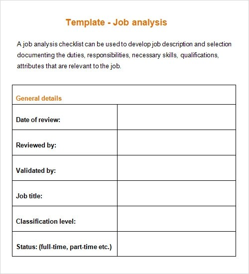 Job Analysis Template - Design Templates - job task analysis template