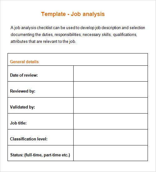 Job Analysis Template - Design Templates