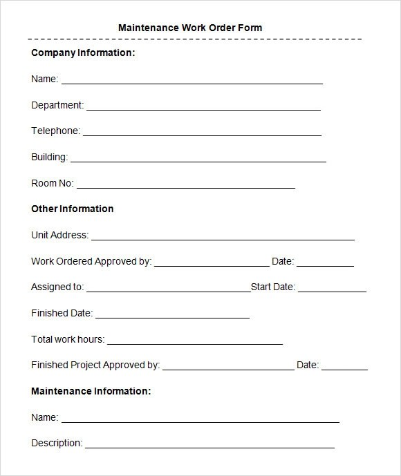 8+ Sample Maintenance Work Order Forms Sample Templates