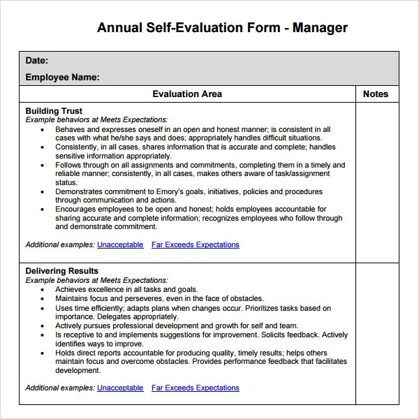 3 Sample Manager Evaluation Templates to Download for Free Sample