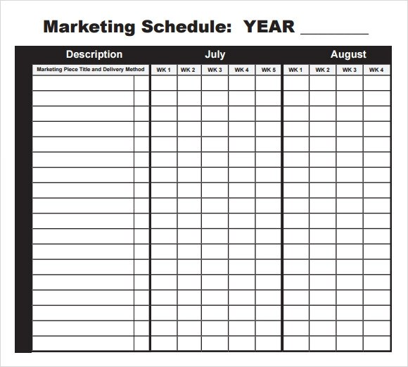 5+ Marketing Schedule Templates \u2013 Free Sample, Example, Format - sample marketing schedule