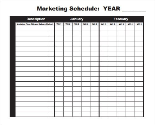 Marketing Schedule Template Marketing Outreach Develop Evaluation - sample marketing timeline template