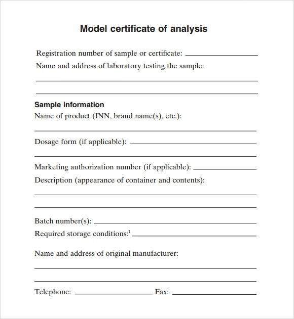 Certificate of Analysis Template - 10+ Free Download Documents in - sample requirement analysis