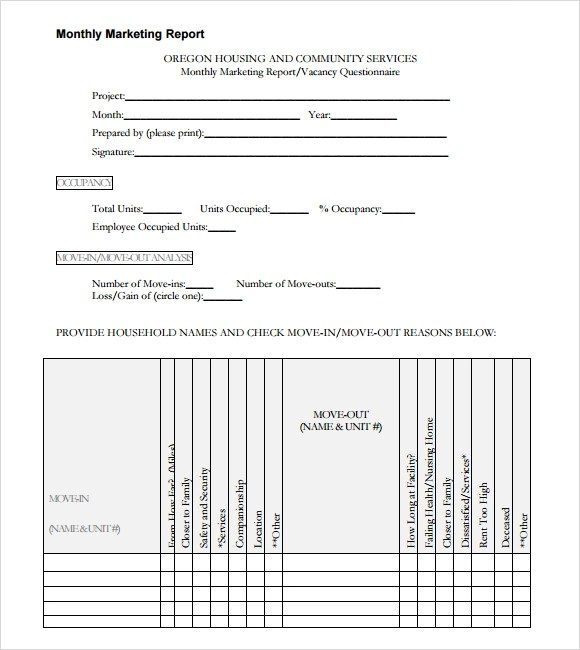 Monthly Report Templates monthly report template sample monthly – Marketing Report Template